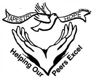 Logo. Tapestry Hope - Helping Our Peers Excel.
